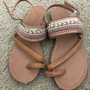 Olivia Miller brown sandals, size 8